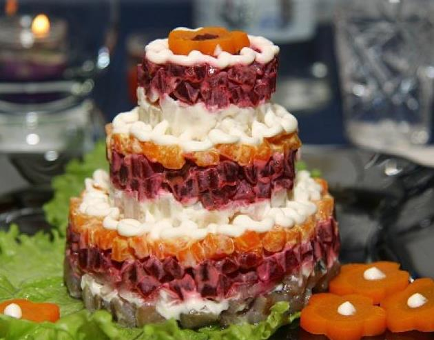 Рецепт салата с фото: «Новогодняя двухъярусная фантазия»
